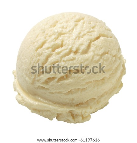 Scoop of vanilla ice cream on white background - stock photo
