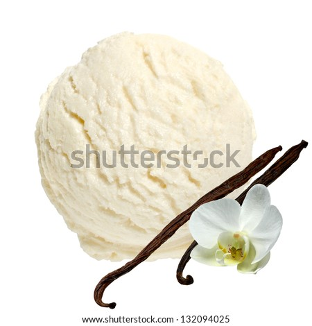 Scoop of vanilla ice cream on white background with clipping path - stock photo