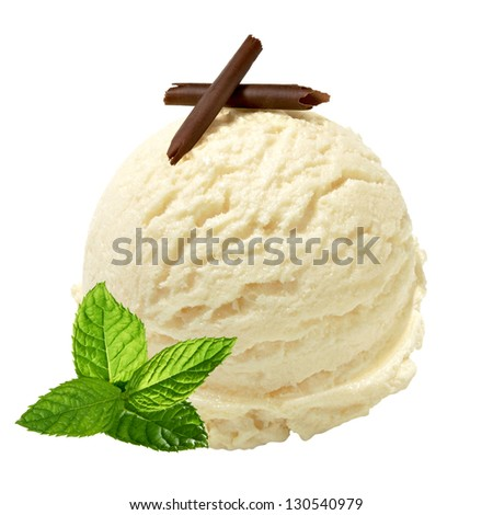 Scoop of vanilla ice cream with fresh mint and chocolate curls on white background - stock photo