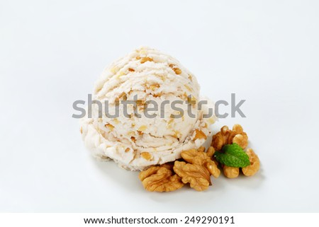 Scoop of walnut ice cream - stock photo