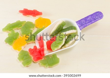 scoop with colorful jelly beans - stock photo