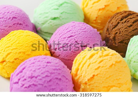 Scoops of ice cream - assorted flavors - stock photo