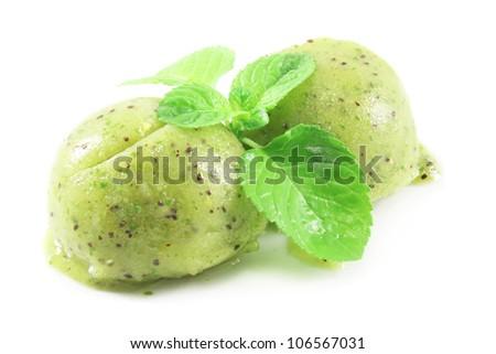 scoops of kiwi and mint  ice cream - stock photo