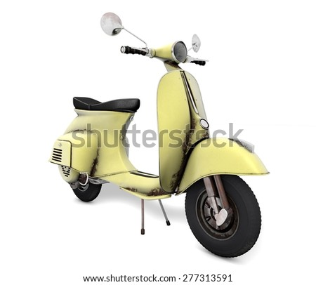 Scooter yellow aged - stock photo