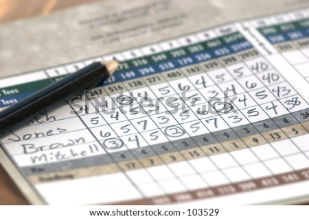 Score card from golf game - stock photo
