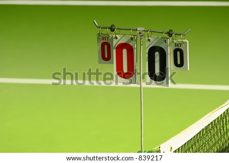 Score cards on a tennis court  (exclusive at shutterstock) - stock photo