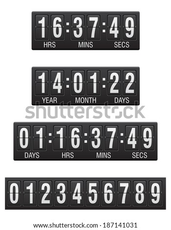 scoreboard countdown timer illustration isolated on white background