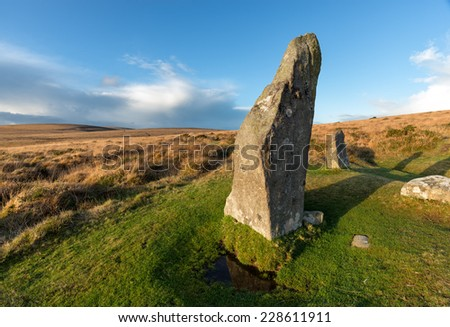 Scorhill Stone Circle on Dartmoor National Park in Devon near Gidleigh - stock photo