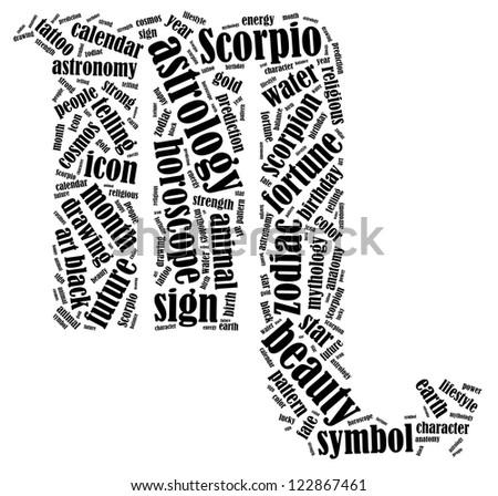 Scorpio zodiac info-text graphics composed in Scorpio zodiac sign shape on white background - stock photo