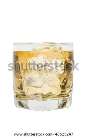 Scotch and water on the rocks on white background - stock photo