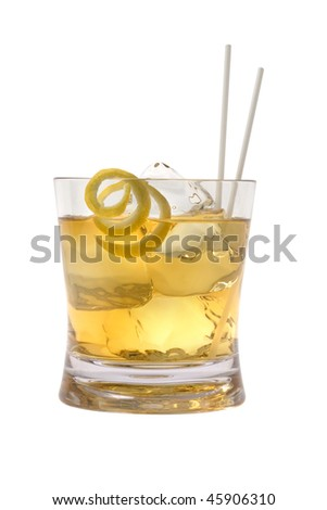 Scotch and water on the rocks with lemon peel garnish on white background - stock photo