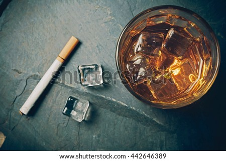 Scotch on rock background. - stock photo