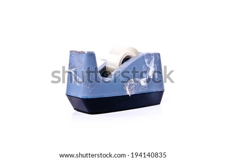 Scotch Tape Holder Used Isolated on white background / Office Tool Equipment. - stock photo