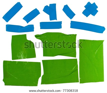 Scotch tape slices on white - stock photo