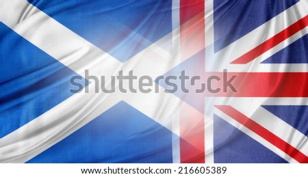 Scotland and British flags together - stock photo