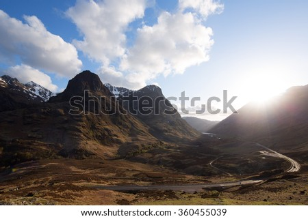 Scotland glencoe three sisters - stock photo