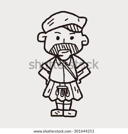 scotland man doodle - stock photo