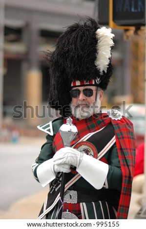 Scotland old man in St.Patrick parade - stock photo