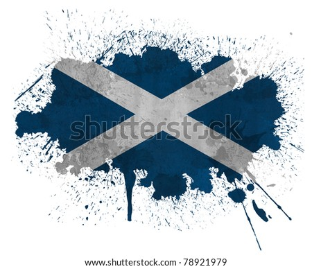 Scotland paint splatter flag - stock photo