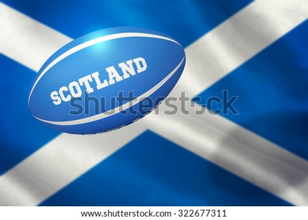 Scotland rugby ball against close-up of scottish flag - stock photo