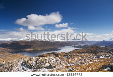 Scotland's Loch Maree in the spring sunshine - stock photo
