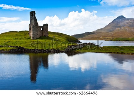 Scotland, Sutherland. Path to a ruiner of Scottish caste. - stock photo