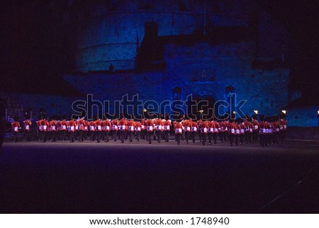 Scots Guards and Coldstream Guards Bands at Edinburgh Military Tattoo 2006 - stock photo