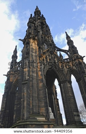 Scott Monument, Princes Street Gardens, Edinburgh, Scotland - stock photo