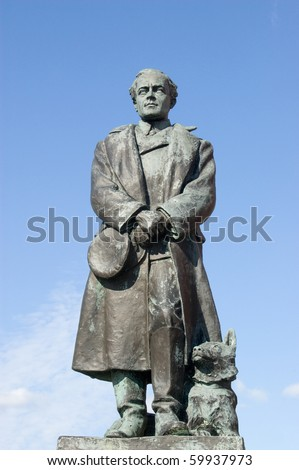 Scott of the Antarctic Statue Public statue of Captain Robert Falcon Scott, explorer (1868 - 1912).  He died in the Antarctic after successfully leading his team to the South Pole. - stock photo