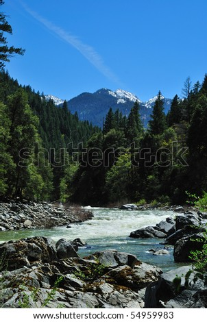 Scott River and Marble Mountain Wilderness in Northern California - stock photo