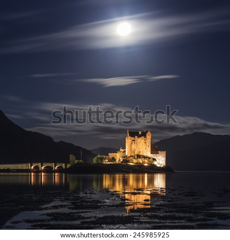 Scottish castle by night  - stock photo