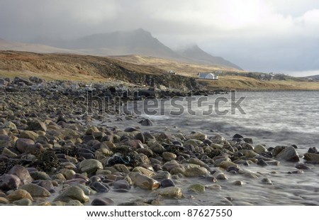 Scottish coastal scenery with lots of pebbles