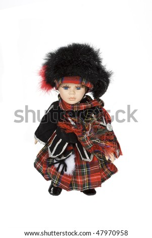 scottish doll with traditional clothes - stock photo