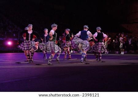 Scottish Female Highland Dancers, Edinburgh Military Tattoo 2006 - stock photo