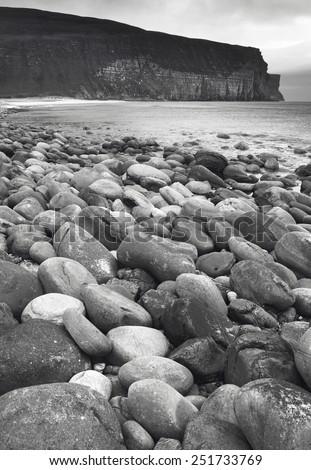 Scottish landscape in Orkney. Hoy pebble beach. Scotland. UK - stock photo