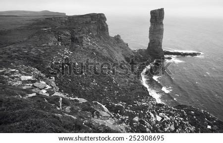 Scottish landscape in Orkney. Old man of Hoy. Scotland. UK - stock photo