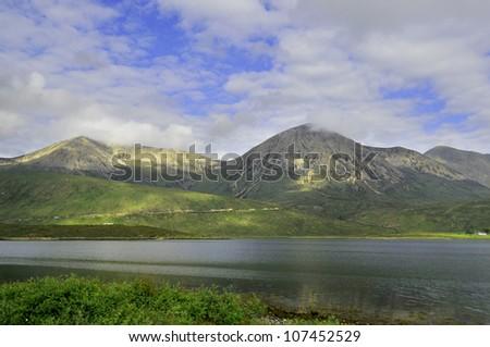 Scottish landscape in the beautiful Skye island, UK - stock photo