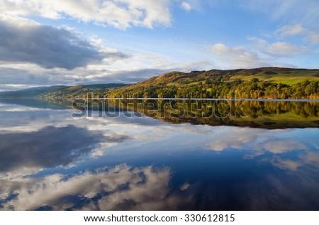 Scottish Loch in Autumn Scottish Landscape at Sunset - stock photo