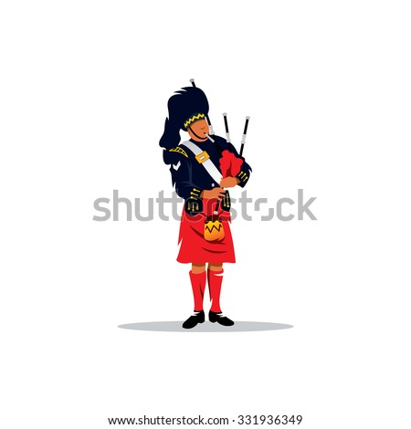 Scottish Piper in traditional Clothing sign. Man in a Scottish kilt. Branding Identity Corporate logo design template Isolated on a white background - stock photo