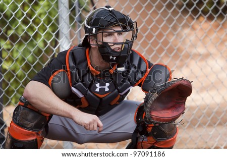 SCOTTSDALE, ARIZONA, USA – FEBRUARY 19: San Francisco Giants catcher Buster Posey at Spring Training in Scottsdale Arizona on February 19 2012. - stock photo