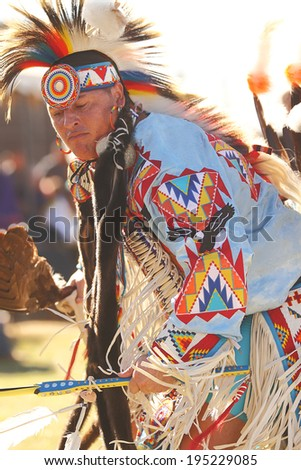 SCOTTSDALE, AZ - NOVEMBER 3: Dancers participate in the Annual Red Mountain Eagle Pow-wow presented by the Salt River Pima-Maricopa Indian Community on November 3, 2013 in Scottsdale, Arizona.