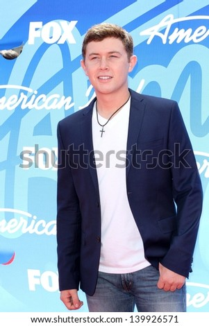 Scotty McCreery at the American Idol Season 12 Finale Arrivals, Nokia Theater, Los Angeles, CA 05-16-13 - stock photo