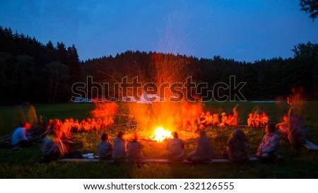 Scout camp, bonfire - stock photo