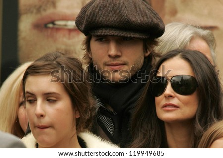 Scout LaRue Willis with Ashton Kutcher and Demi Moore at the Ceremony honoring Bruce Willis with the 2,321st star on the Hollywood Walk of Fame. Hollywood Boulevard, Hollywood, CA. 10-16-06 - stock photo