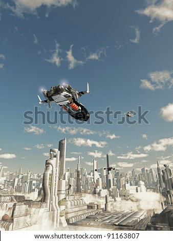 Scout ship on its final approach to landing in a futuristic science fiction city, 3d digitally rendered illustration