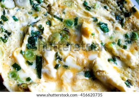 Scrambled egg in a frying pan.