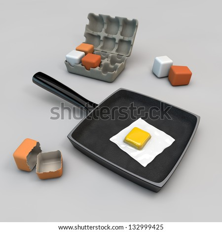 scrambled eggs from square eggs - stock photo