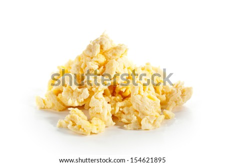 Scrambled Eggs Isolated over White - stock photo