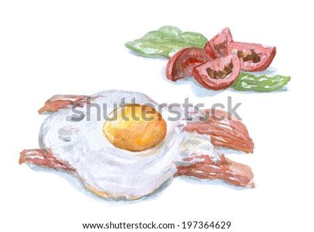 scrambled eggs, watercolor breakfast. Bacon, salad, tomatoes - stock photo