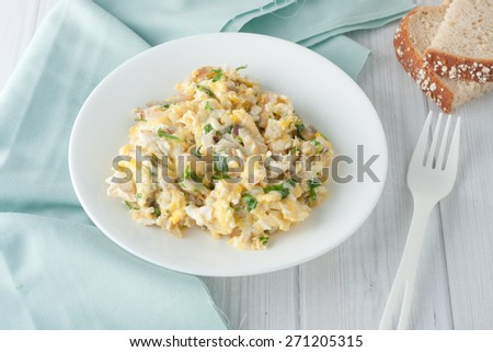 scrambled eggs with fresh herbs and red onion on white plate - stock photo